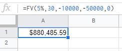 FV formula Google Sheets