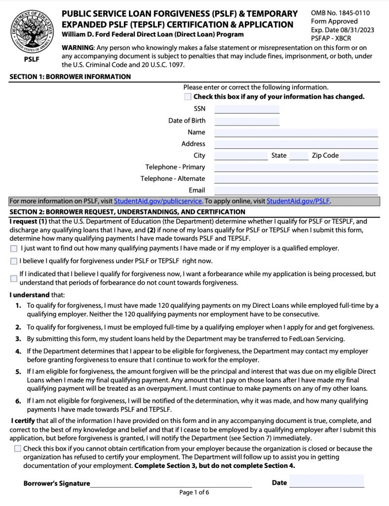 PSLF Form Page 1