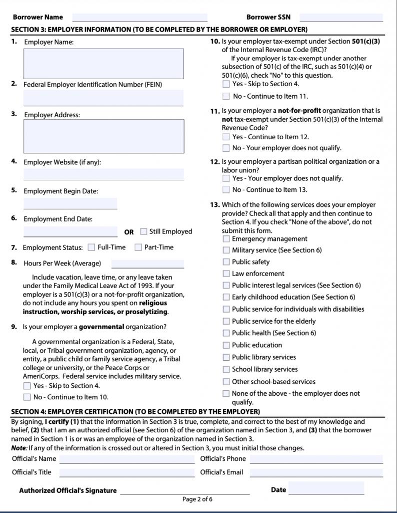 PSLF Form Page 2