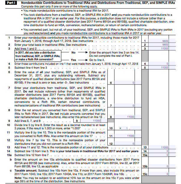 Filling out Form 8606