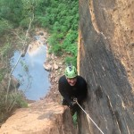 The final rappel out of Heaps Canyon, Zion NP, and the reason for the late notice