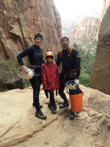 The author's family descending Pine Creek Canyon, Zion National Park