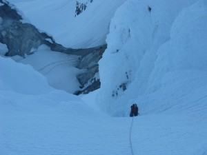 "Threading the ""Pearly Gates"" just before dawn on Mt. Hood."
