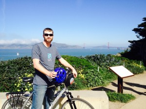 An 80 lb bike and a cool SoFi T-shirt at Land's End