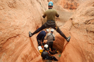 Unless you're the lead dog, the view never changes. Christian Feinauer, MD, trying not burn his bridge at Lake Powell
