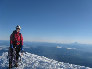 Mrs. WCI on the summit of Mt. Hood shortly after dawn