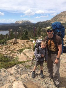 The author and his son backpacking in the Uintas