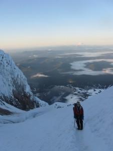 My wife, high on Mt. Hood, at dawn