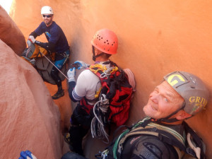"Preparing to rappel off ""meat"" at Lake Powell"