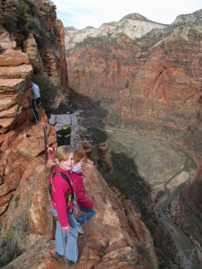 My daughter and her cousins on Angel's Landing. Yes, we roped them up.