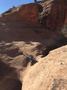The author descending Granary Canyon near Moab UT- now that's some real estate!