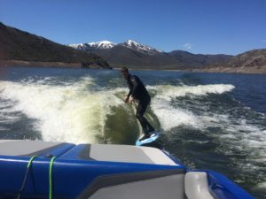 Catch a Wave and you're sitting on top of the world. Early May is tough in Utah, you have to decide between water skiing and snow skiing.
