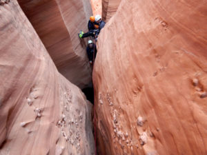 "Crossing a ""silo"" in a slot canyon can be terrifying"