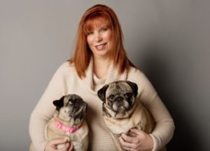 Sandi Frith with her pugs, Bruno and Shelby