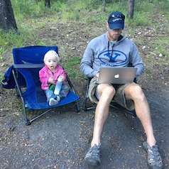 dad at work while camping