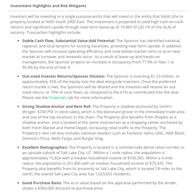 RealtyShares Investment Highlights