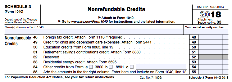 New 1040 tax form Schedule 3