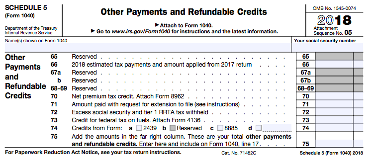 New 1040 tax form Schedule 5