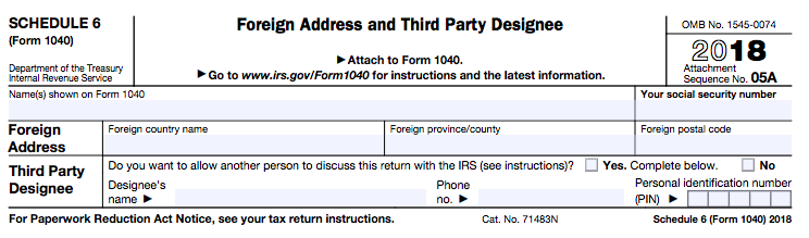 New 1040 tax form Schedule 6