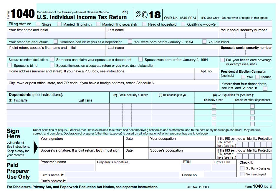 New tax Form 1040