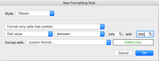 excel new formatting rule