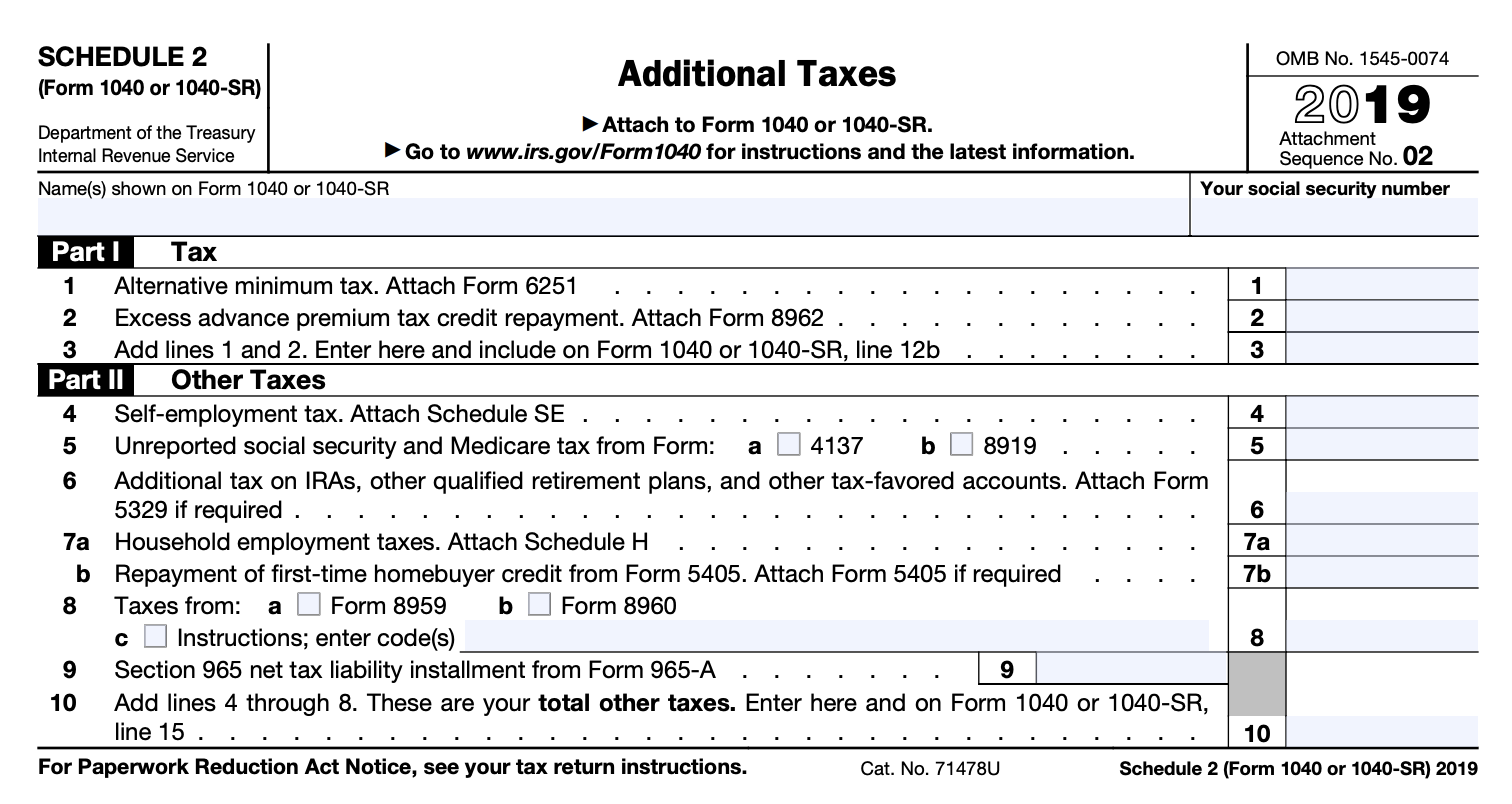 2019 Form 1040 Schedule 2 | White Coat Investor