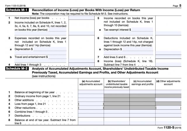 Form 1120S Schedule M-1