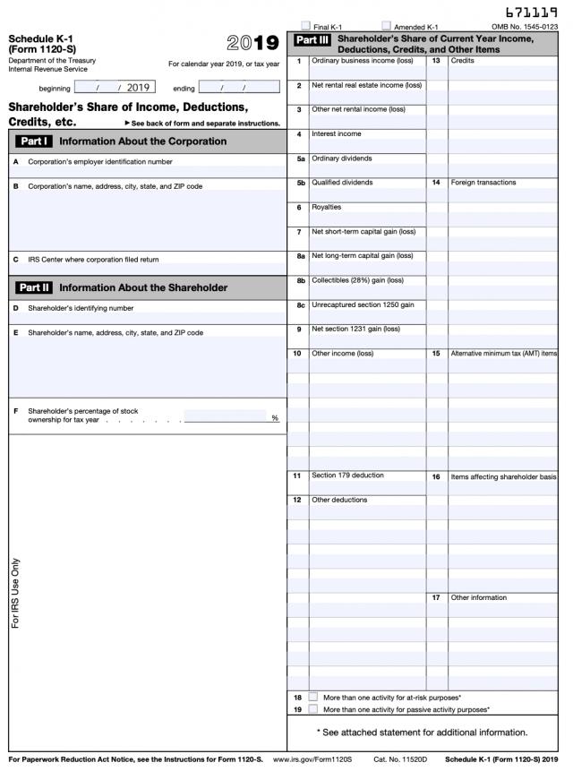 Form 1120S Schedule K-1