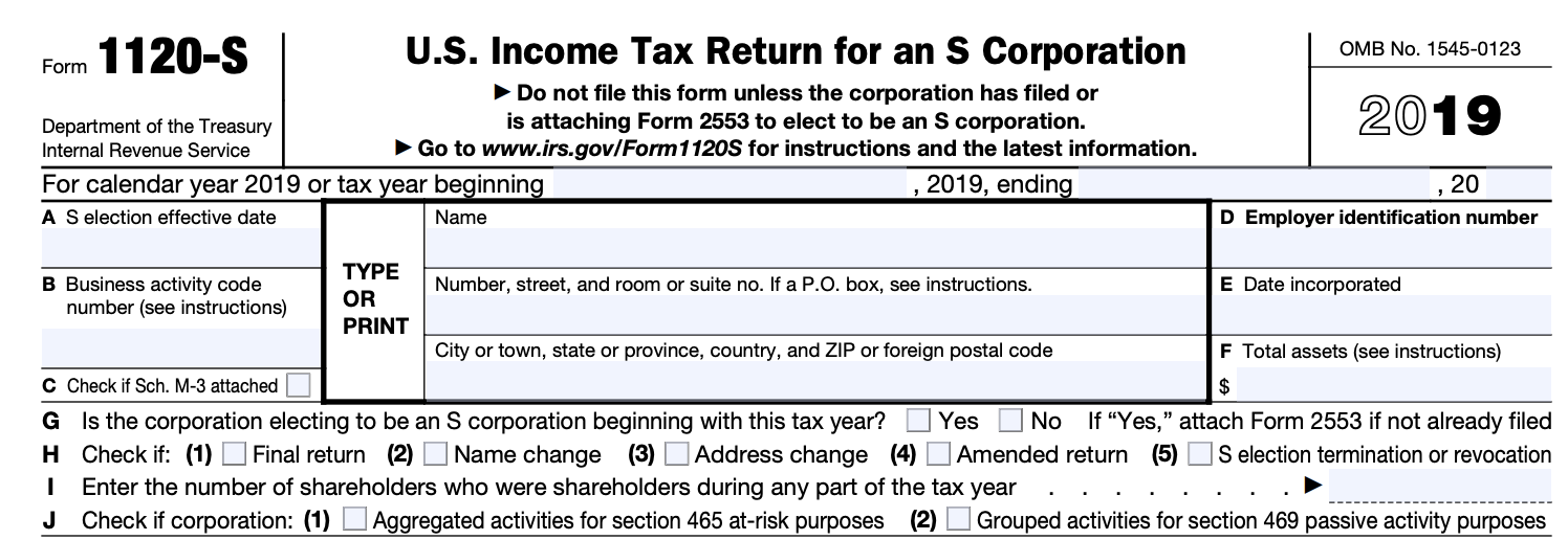 Form 1120S Page 1