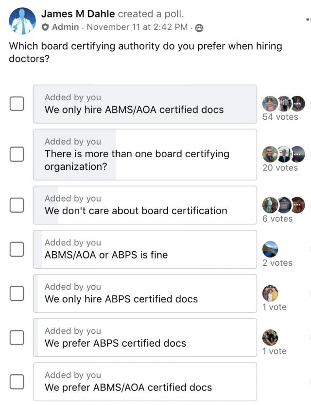 Board Certification Facebook poll