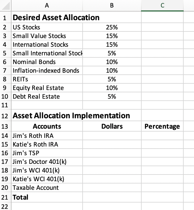 asset allocation spreadsheet step 2