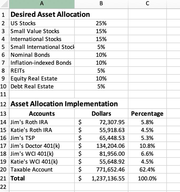 Asset allocation spreadsheet step 3