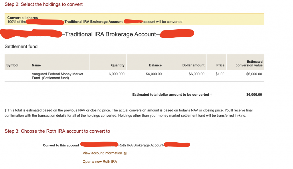 step 2 and 3 backdoor roth ira vanguard