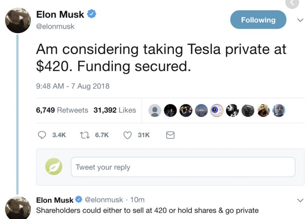 Elon Musk Tesla Tweet