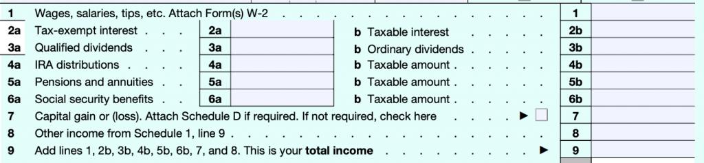 Formulario 1040 de ingresos